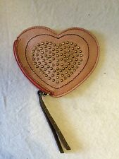 Fossil coin purse leather heart shaped pink & red with goldtone studs & zipper