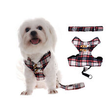 Adjustable Pet Dog Scottish Lattice Harness Pubby Lead &Clothing Vest Leashes