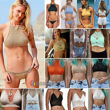 Women Crochet Lace Bralette Knit Bra Beach Bikini Halter Sexy Cami Tank Crop Top