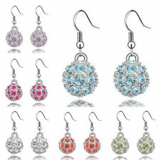 Hot Womens Fashion Jewelry Silver Plated Rhinestone Beads Crystal Drop Earrings
