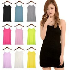 Adjustable Long Cami With Shelf Bra Camisole Spaghetti Strap Tank Top Vest Crop