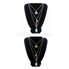Silver Gold Vintage Bohemia Multilayer Chain Turquoise Pendant Long Necklace
