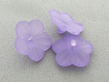 15mm 50../500pcs FROSTED ORCHID ACRYLIC PLASTIC FLOWER BEADS BUTTONS Y01800