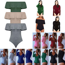 Lady Womens Sexy V Neck One Piece Bodysuit Long Sleeve Bodycon Rompers Jumpsuit
