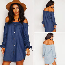 Sexy Women Summer Casual Off Shoulder Evening Party Beach Dress Short Mini Dress