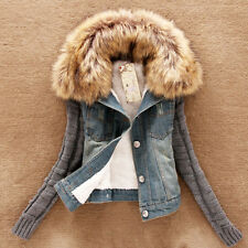 Winter Warm Womens Denim Coat Hooded Outerwear Faux Fur Collar Jacket Sweater