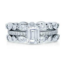 BERRICLE Sterling Silver Emerald Cut CZ Solitaire Stackable Ring Set