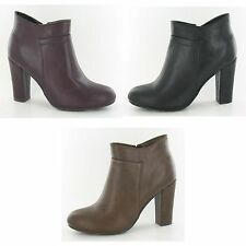 Spot On Womens/Ladies Zip Up Heeled Ankle Boots UTKM352