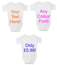 Personalised Baby Grow Bodysuit Vest ANY TEXT Custom Design Funny New Baby Gift