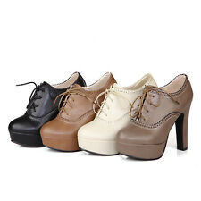 Cute Womens High Heels Shoes Lace Up Platforms Round-toe Pumps US Size BD4473