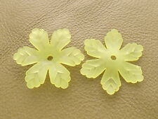 24x27mm 20/50pcs FROSTED GREEN YELLOW ACRYLIC PLASTIC FLOWER BEADS Y01467