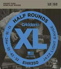 D'Addario EHR350 Half Rounds Stainless Steel Electric Guitar Strings 12-52