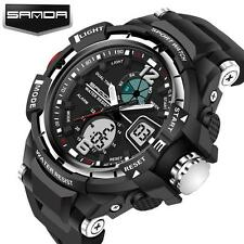 Cool Mens Stainless Steel LED Digital Date Army Sport Analog Quartz Wrist Watch
