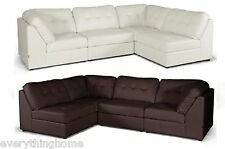 MODULAR SECTIONAL SOFA SET DESIGNER NEW OFF-WHITE OR BROWN MODERN LEATHER