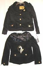 BABY PHAT Toddlers' Brushed Corduroy Stretch Hooded Jacket-Black/Gold-NWT-$57.50