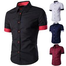 Mens Slim Fit Stylish Shirt Short Sleeve Casual Collar neck T-shirts Tee