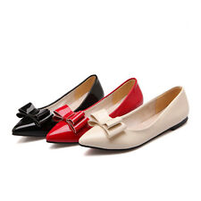 Cute Womens Flat Heels Shoes Slip On Shallow Mouth Bowknot Pumps US Size BD4953