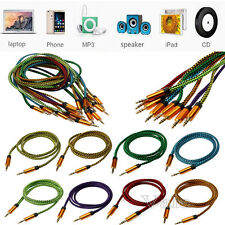 Strong Nylon Braided 3.5mm Male to Male Car Aux Audio Cable MP3 PC Cellphone Lot