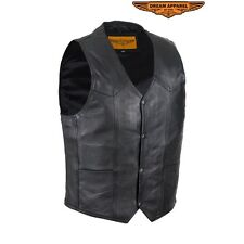 Men's Motorcycle REAL SOLID COWHIDE LEATHER Concealed Carry Club Vest W/ Lining