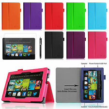 """For Kindle Fire HDX 7"""" 7 Leather Case Cover Stand 2013 Model + Screen Protector"""