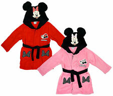 Girls Disney Minnie Mouse Bows Hooded Dressing Gown With Ears 3 to 8 Years