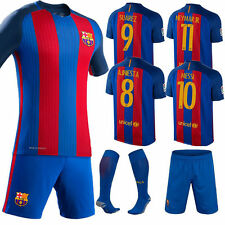 2016 Football Jersey Messi Neymar Soccer Home/Away Kit Boy Girl 3-14 Years Socks
