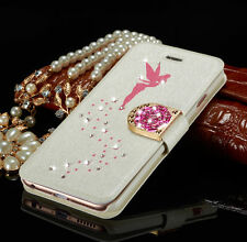 Luxury Diamond Leather Magnetic Flip Card Wallet Cover Case For iPhone/Samsung