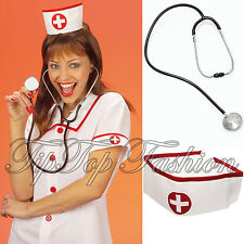 New Nurse Dress-Up Fun Hats Caps Headwear&Realistic Stethoscope Prop Accessory