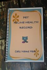 Pet Feline Health CATs Shot Vaccination and Vet Record Book Personalized Free