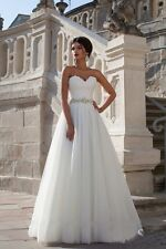 NEW White Ivory Wedding Dress Bridal Gown Proms Party DEB Evening Ball Pageant
