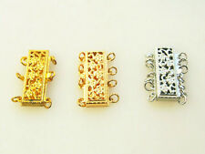 3 4 5 6 strand rectangle filigreed gold plated alloy jewelry suppl clasp 23*8mm