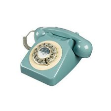 """10.5"""" Rotary Push Button Dialing Corded Desk Phone Retro 1960s Style - 5 Colors"""