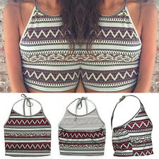 Women Boho Summer Tank Tops Bustier Halter Crop Top Bralette Shirt Blouse Cami