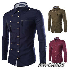 New Fashion Mens Luxury Stylish Casual Dress Slim Fit T-Shirt Casual Long Sleeve