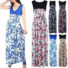 Womens Ladies Contrast Sleeveless Floral Roses Ruched Stretchy V Neck Maxi Dress