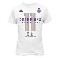 adidas Mens Gents Football Soccer Real Madrid UCL 2016 Winners T Shirt - White