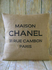 Maison Chanel - Hessian cushion cover vintage French shabby chic