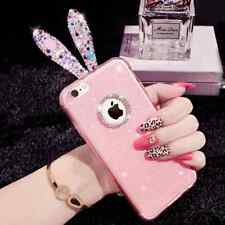 Bunny Rabbit Ear Crystal Silicone TPU Soft Back Cover Case skin For Apple iPhone