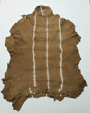 Brown With Beige Stripes Soft Italian Garment Quality Goat Suede Skins