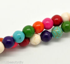 "Wholesale Mixed Howlite Turquoise Round Loose Beads 8mm(3/8""), 40cm long"