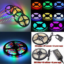 5M/16.4Ft SMD 3528 5050 Flexible 300 LED Strip Light RGB IR Remote Power Supply