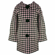 Hell Bunny Mod Hipster Pink Houndstooth Vintage 60s Crombie Swagger Winter Coat