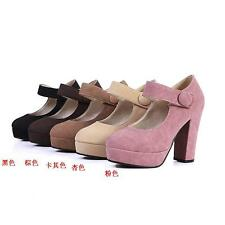 Cute Womens High Heels Shoes Buckle Round-toe Platforms Pumps US Size BD5854