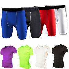 Mens Compression Shirt Athletic Stretchy Shorts Base Layer T-shirt Pants Sport