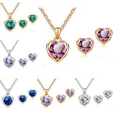 Women Heart Crystal Rhinestone Silver/Gold Plated Necklace Earring Jewelry Sets