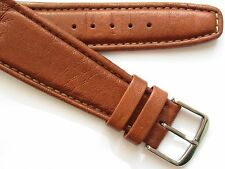 Medium brown vintage 70's leather ~open end wirelug watch band ~ 22 mm