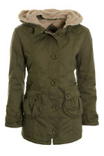 Women's Parka Coat Faux Fur Lined Hooded Ladies Canvas Winter Coat Jacket