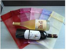 10 Sheer Organza Wine Bottle Gift Bags Cover For Holiday Party Wedding Favor  ST