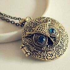 Women Jewelry Retro Vintage Crystal Blue Eye Owl Opening Locket Pendant Necklace