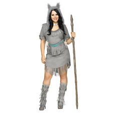 Adult Womens Plus Size Wolf Dancer Native American Indian Costume Dress 1X 16-20